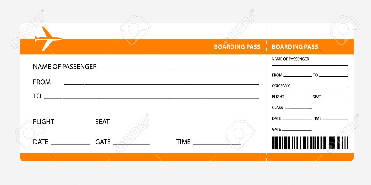 Airplane Ticket Blank Space Orange Boarding Pass Coupon Isolated