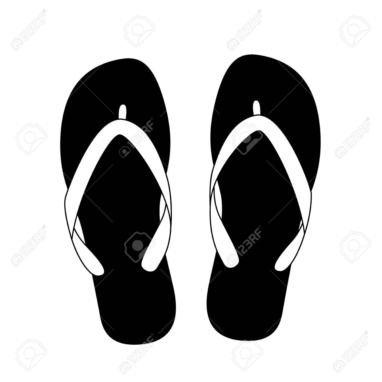Black Flip Flops Isolated On White