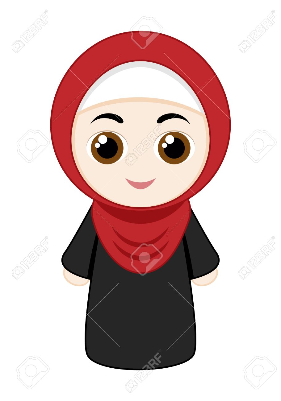 Cartoon girl with red hijab isolated on white background. Stock Vector ,  56428735