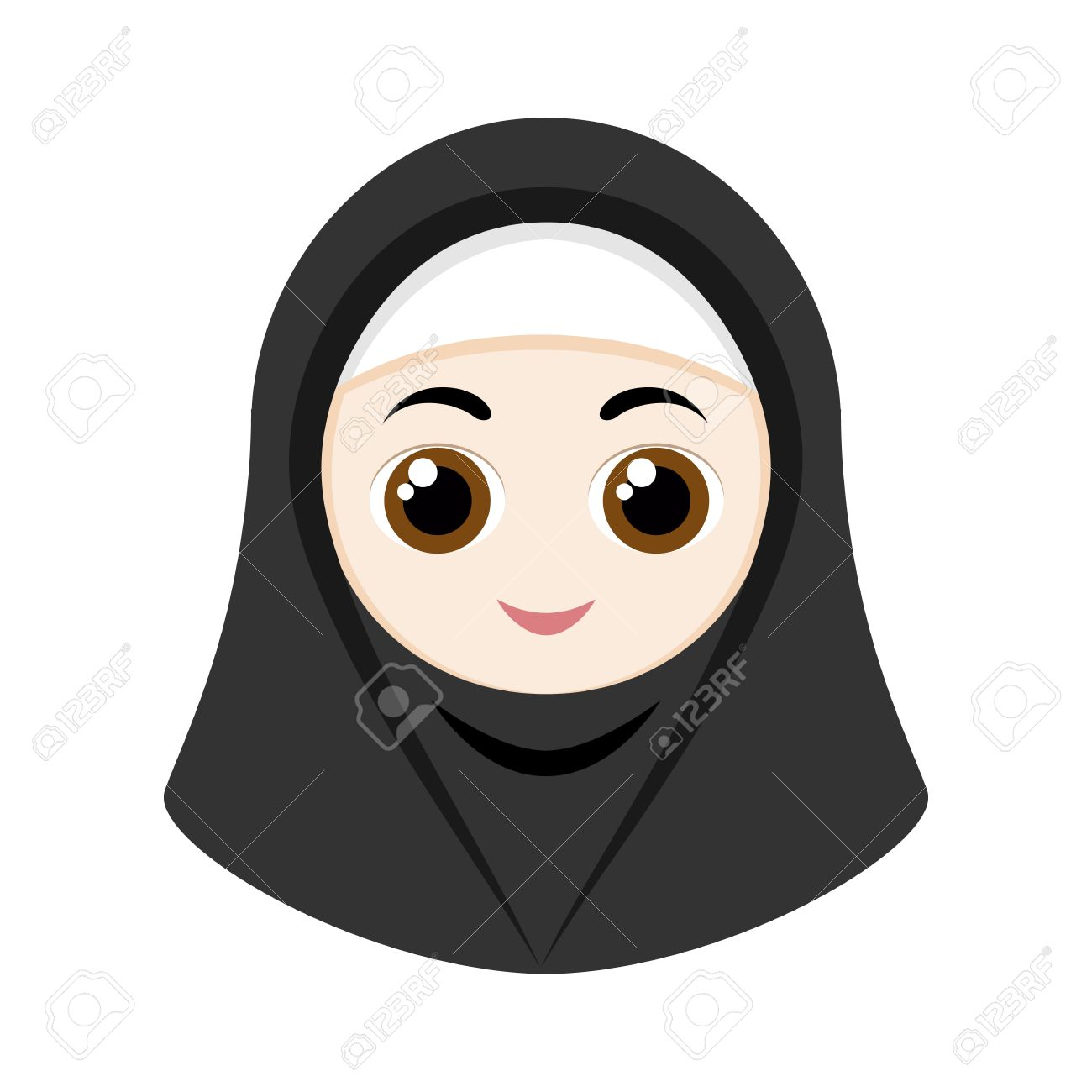 Cartoon girl with black hijab isolated on white background stock vector 56428741