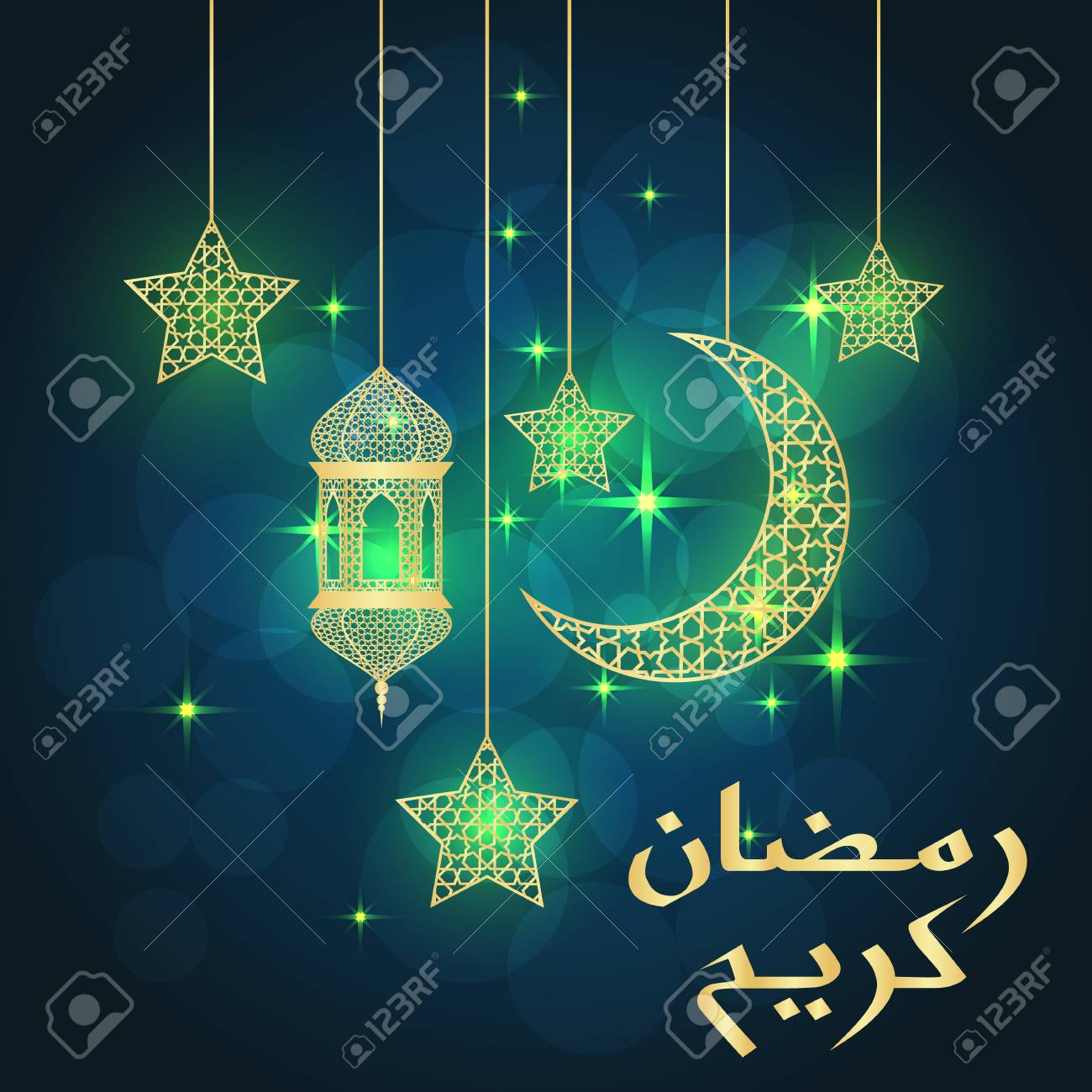 Ramadan greeting card on blue background vector illustration ramadan greeting card on blue background vector illustration ramadan kareem means ramadan is generous m4hsunfo
