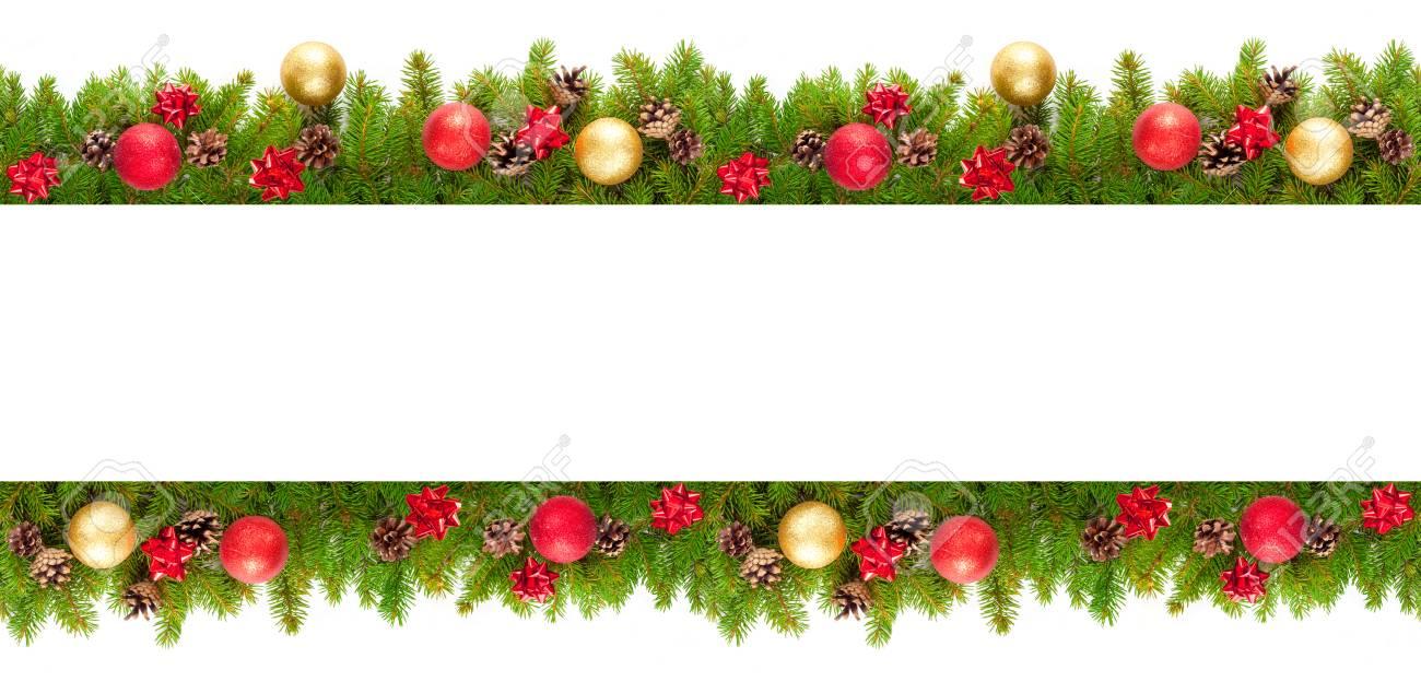 Image Bordure Noel.Branches D Arbres De Noel Sur Fond Blanc Comme Une Bordure Ou Un Modele Pour Carte De Noel