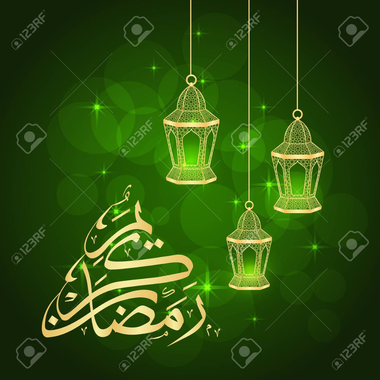 Ramadan greeting card with lanterns on green background  Vector