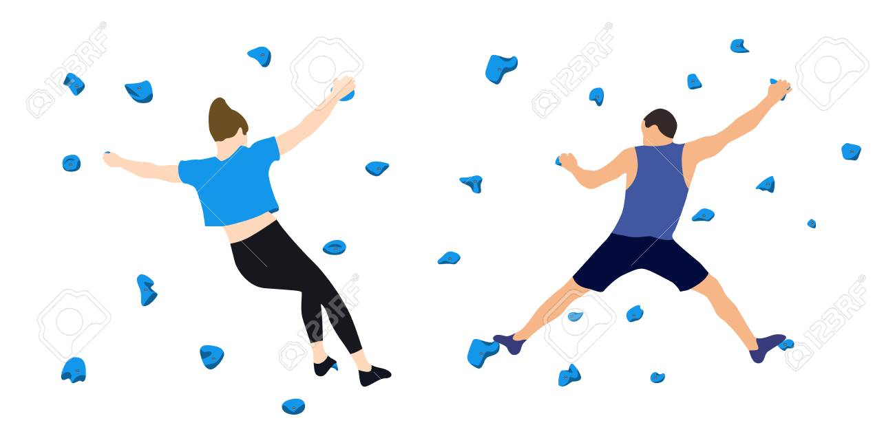 A man and a woman climbers on a wall in a climbing gym isolated on a white background. Vector illustration. - 112034341