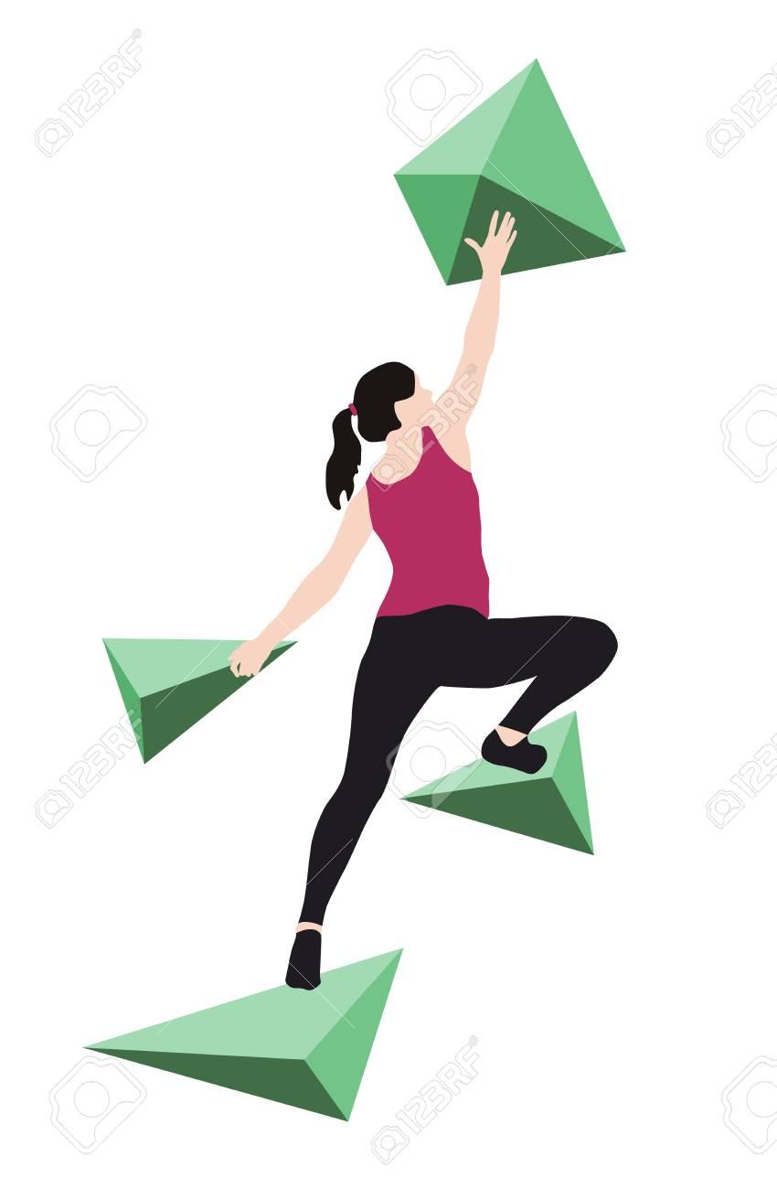 Woman climbs climbing wall - 113743786