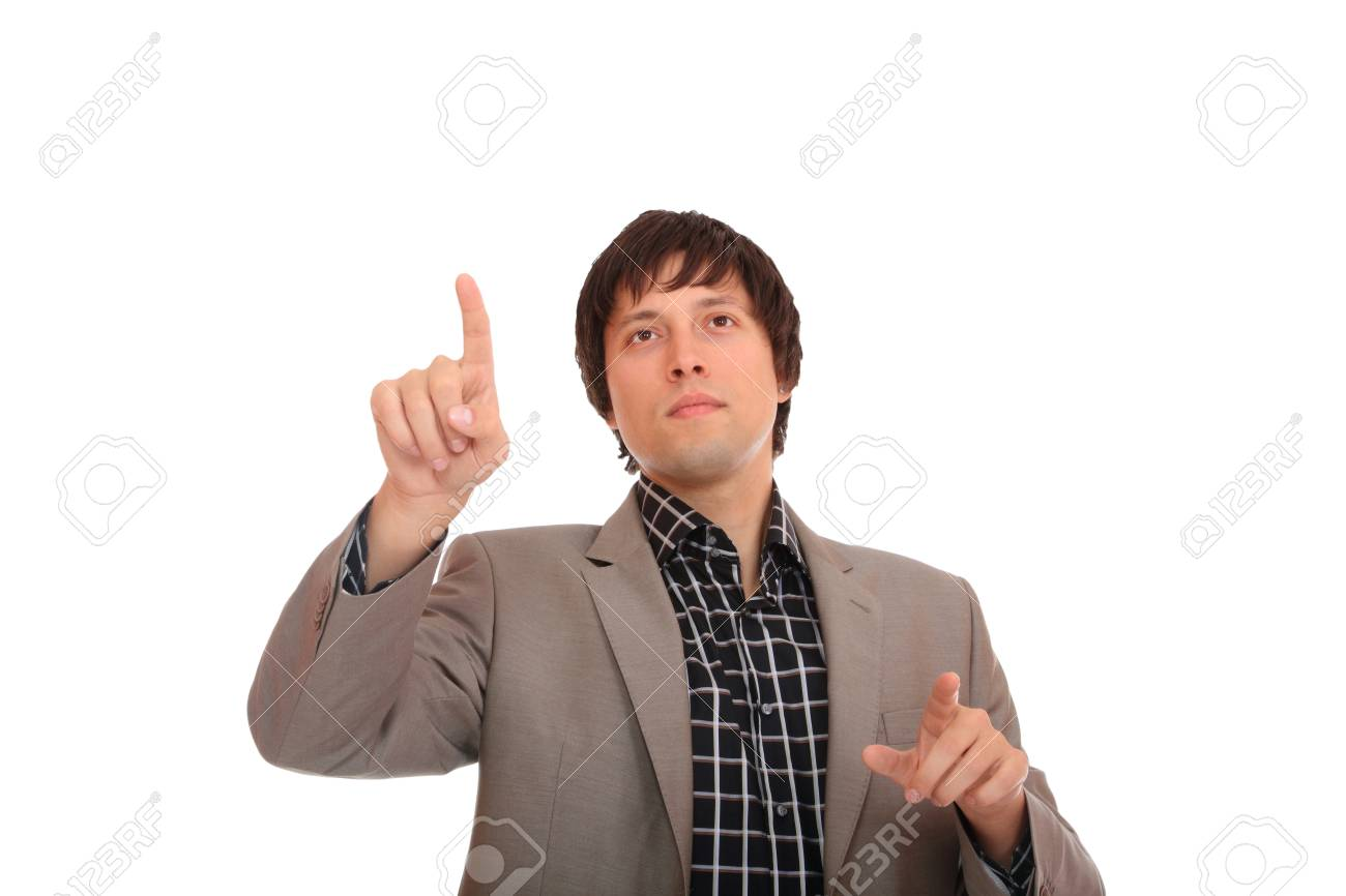 Handsome business man using a virtual screen - isolated over a white background Stock Photo - 8720385