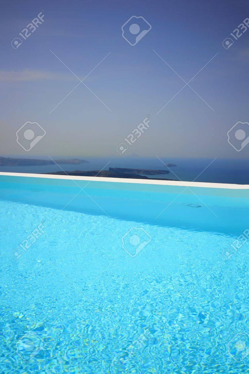 Swimming pool at Santorini island Greece Stock Photo - 15509912