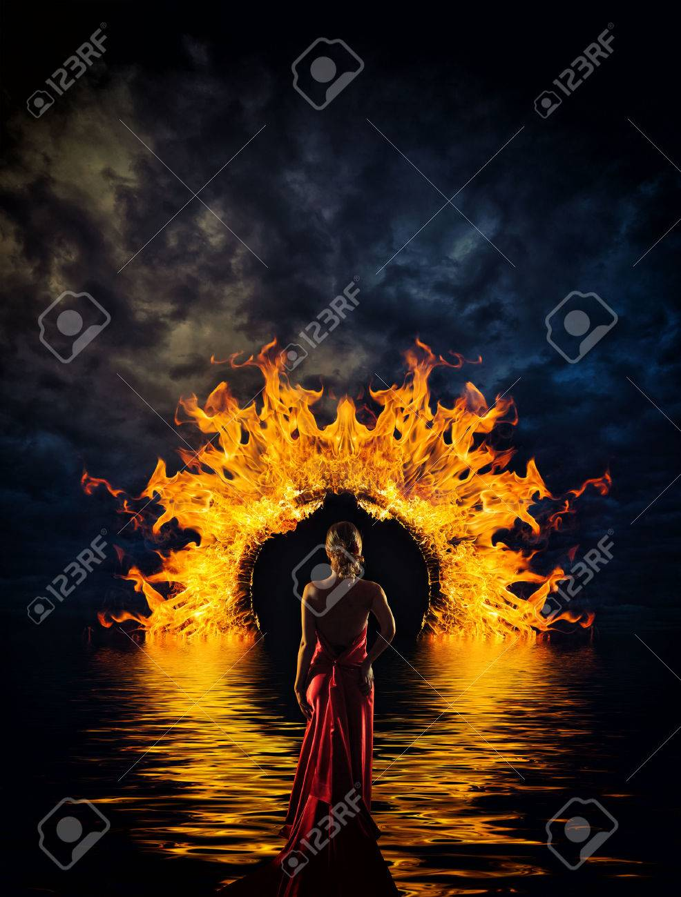 Woman at hell\u0027s door dramatic background Stock Photo - 24925790 & Woman At Hell\u0027s Door Dramatic Background Stock Photo Picture And ...
