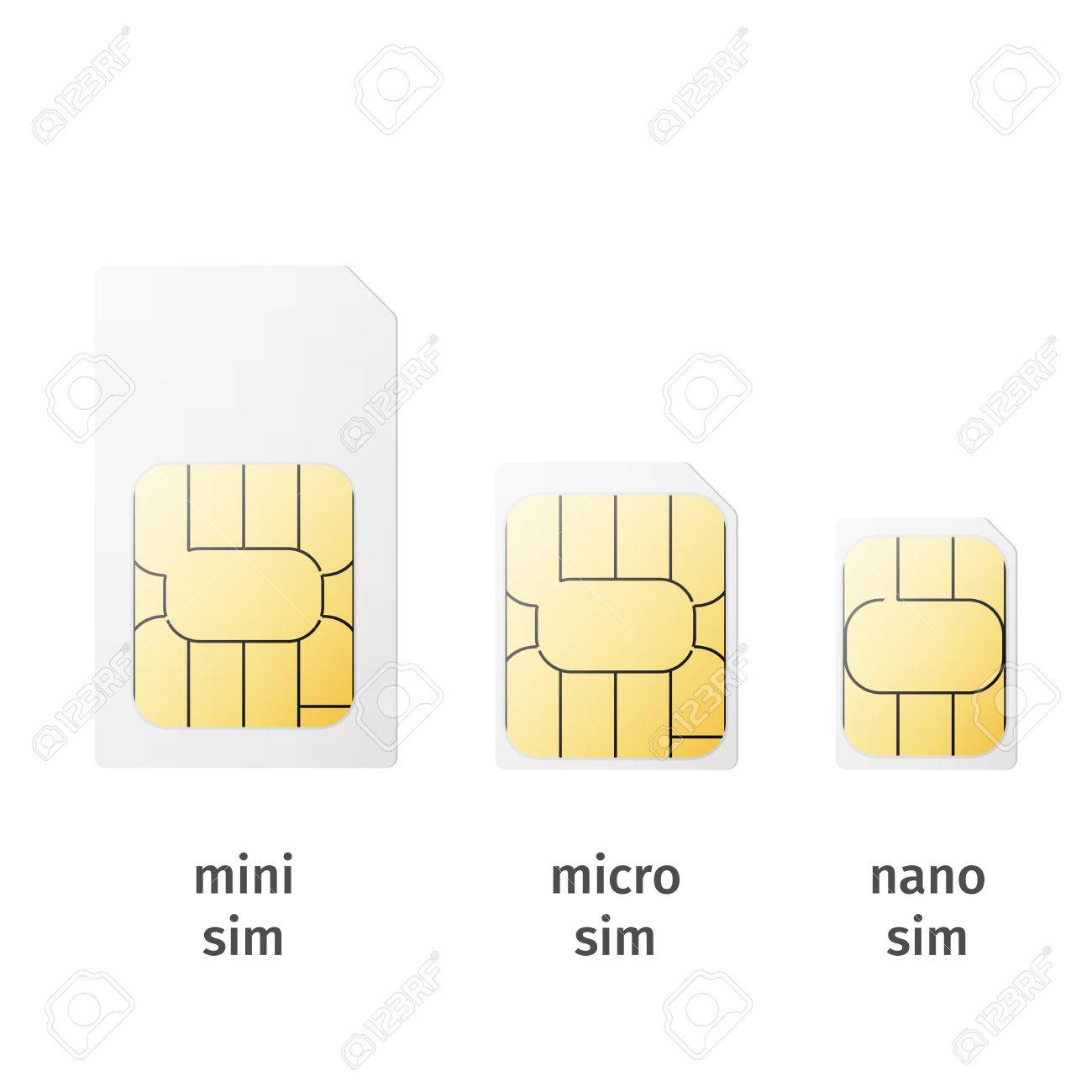 Set Of Sim Cards Of Different Sizesmini Micro Nano Isolated