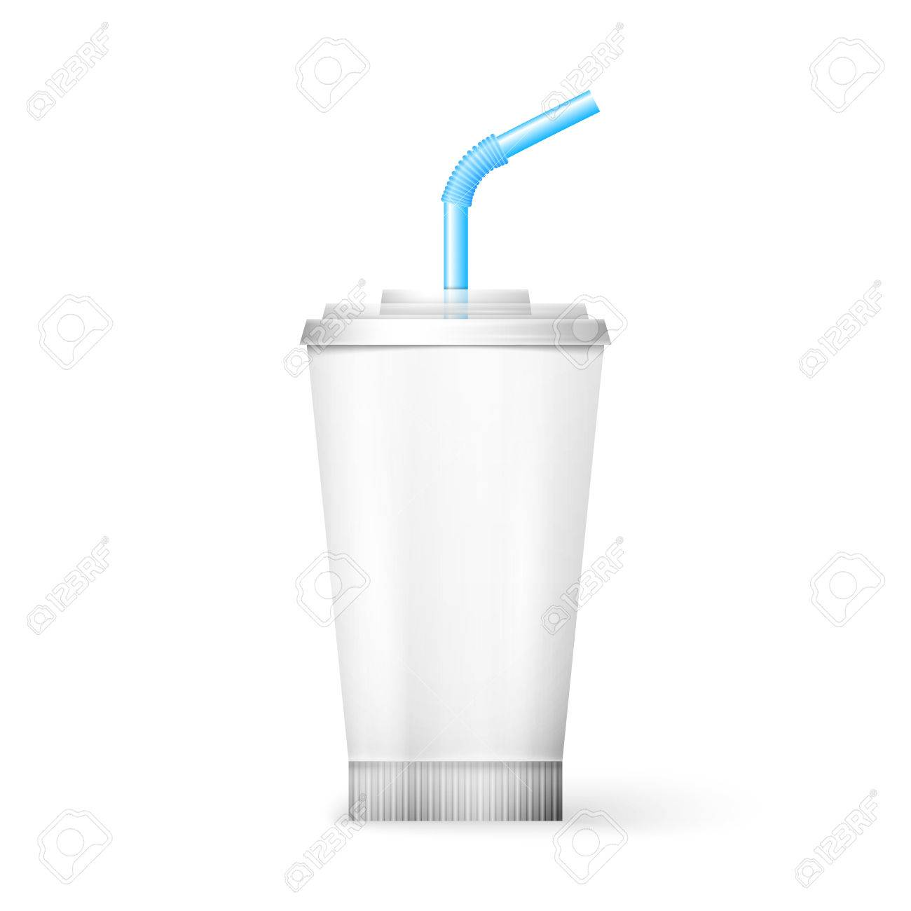 White Paper Cup Template For Soda Or Cold Beverage With Drinking