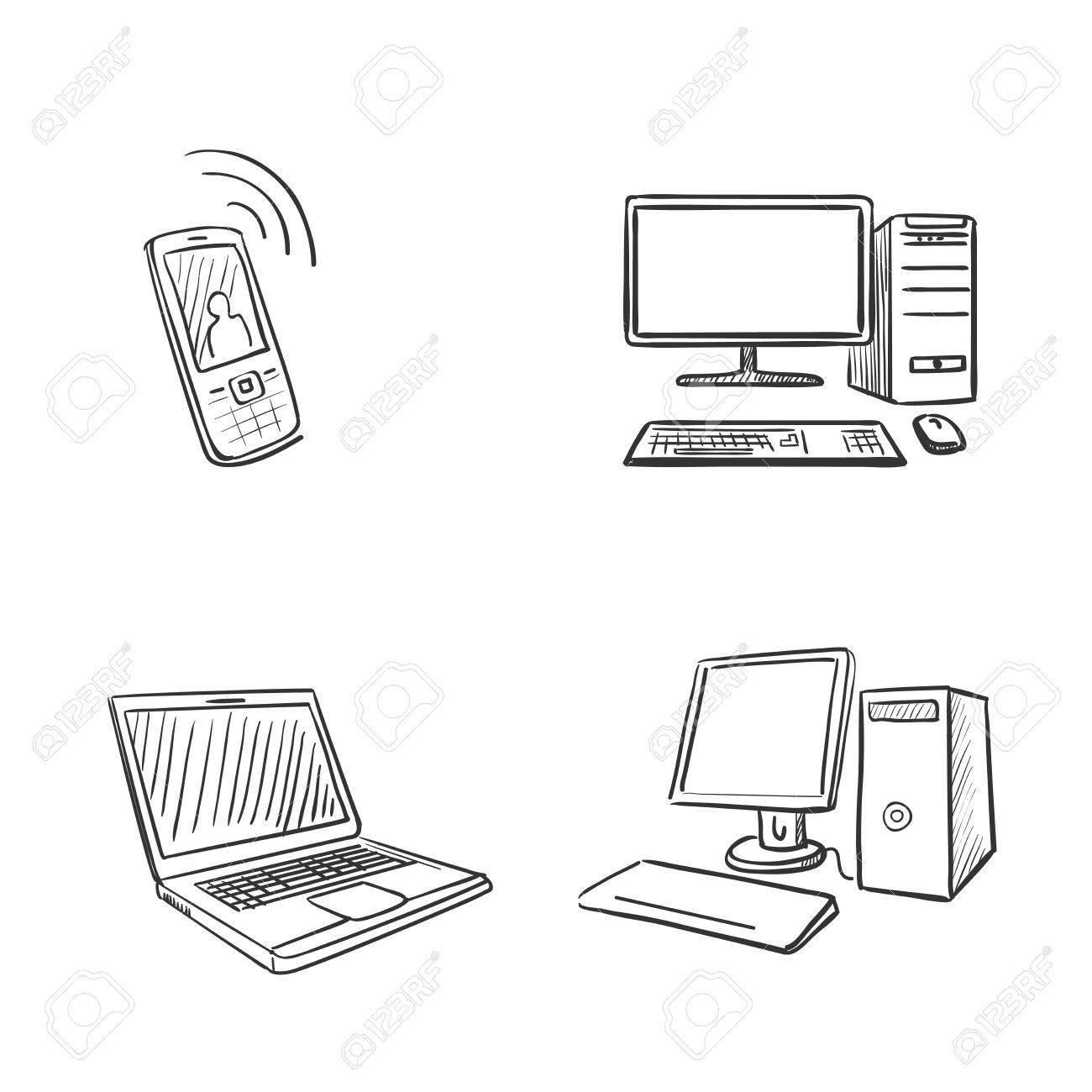 Main Dessiner Ordinateur Portable De L'ordinateur Et Le Téléphone Doodle  Clip Art Libres De Droits , Vecteurs Et Illustration. Image 39250829.