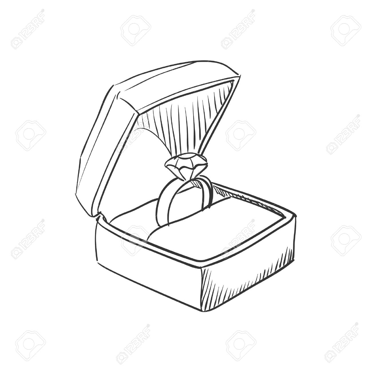 Vector Doodle Wedding Ring With Diamond Icon, Hand Drawn Style ...