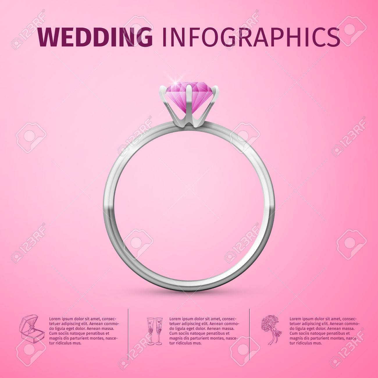 Wedding Infographic With Diamond Ring. Wedding Day Coast Statistics ...