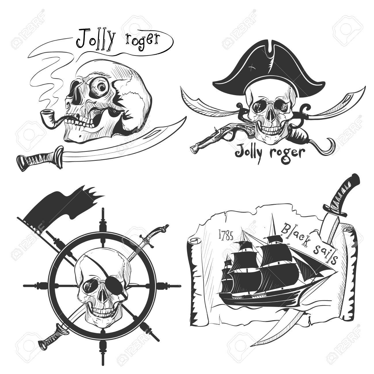 Labels pirate theme hand drawing - 42497107