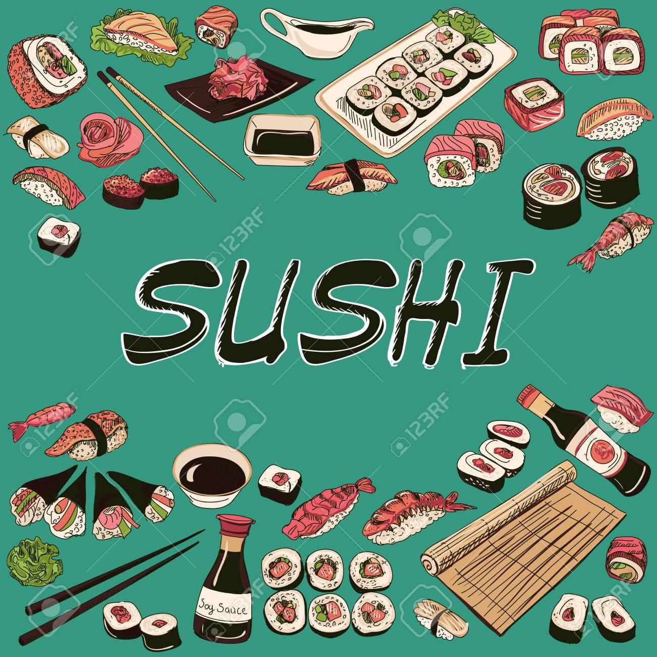Sushi illustration. Hand drawn style, excellent illustration - 42497402