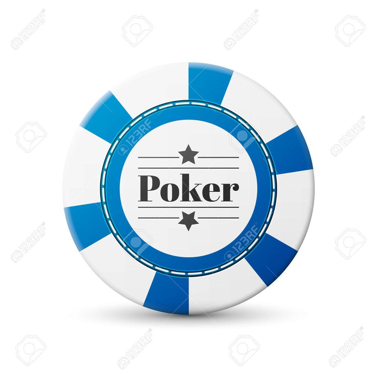 single blue casino chip isolated on white background - 43119036