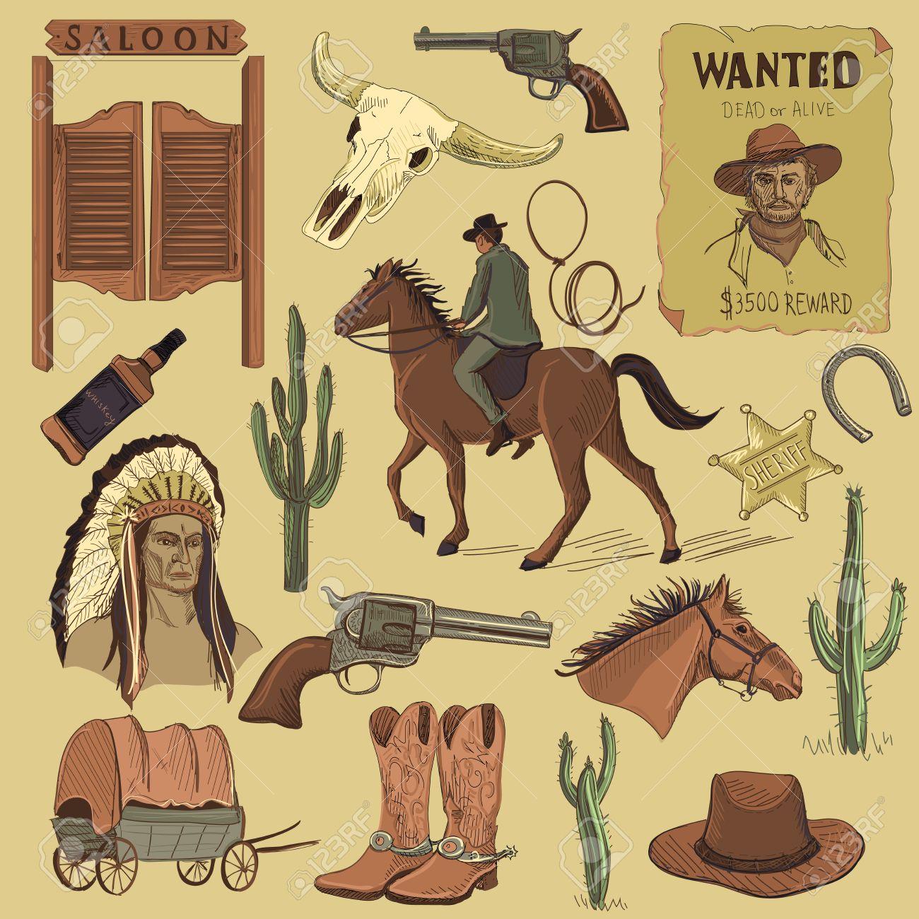 ffdeb47ffb8 Banque d images - Dessinés à la main Wild West icônes fixés avec des  revolvers