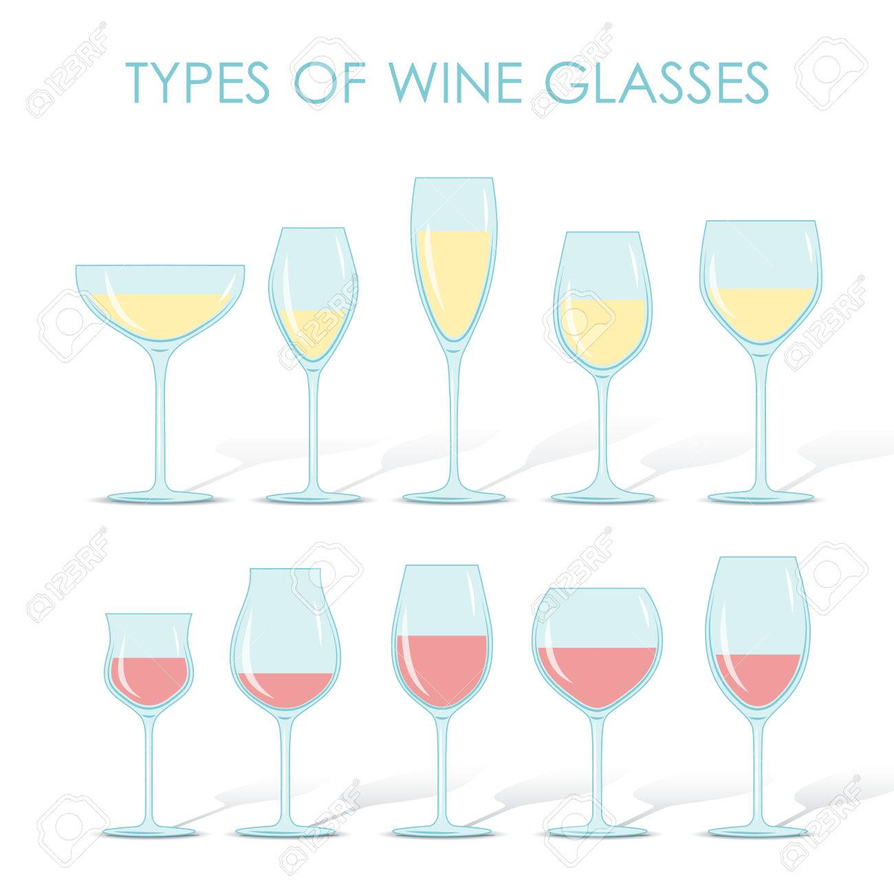 9c9de01be763 Set of types of wine and glasses red white sparkling and dessert wine Stock  Vector -