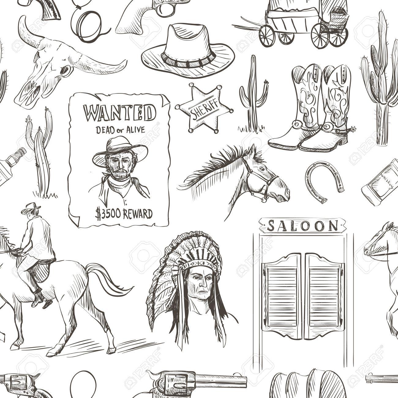 d080c57440d Banque d images - Main Wild West attirée seamless revolvers