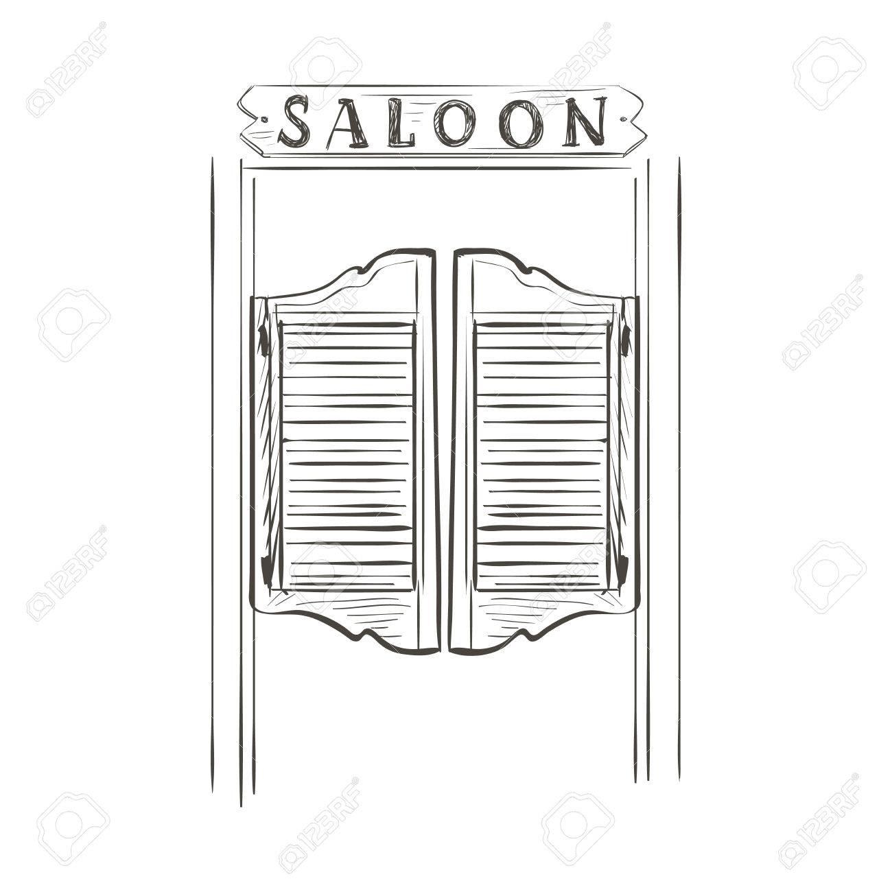 Old western swinging saloon doors. Doodle style Stock Vector - 44893928  sc 1 st  123RF.com & Old Western Swinging Saloon Doors. Doodle Style Royalty Free ...