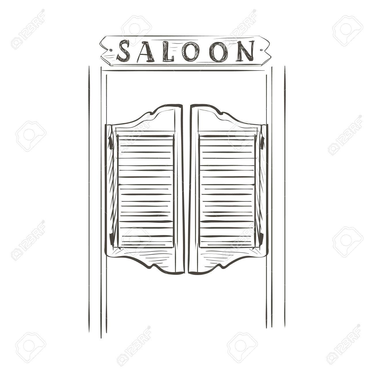 Old western swinging saloon doors. Doodle style - 44893928