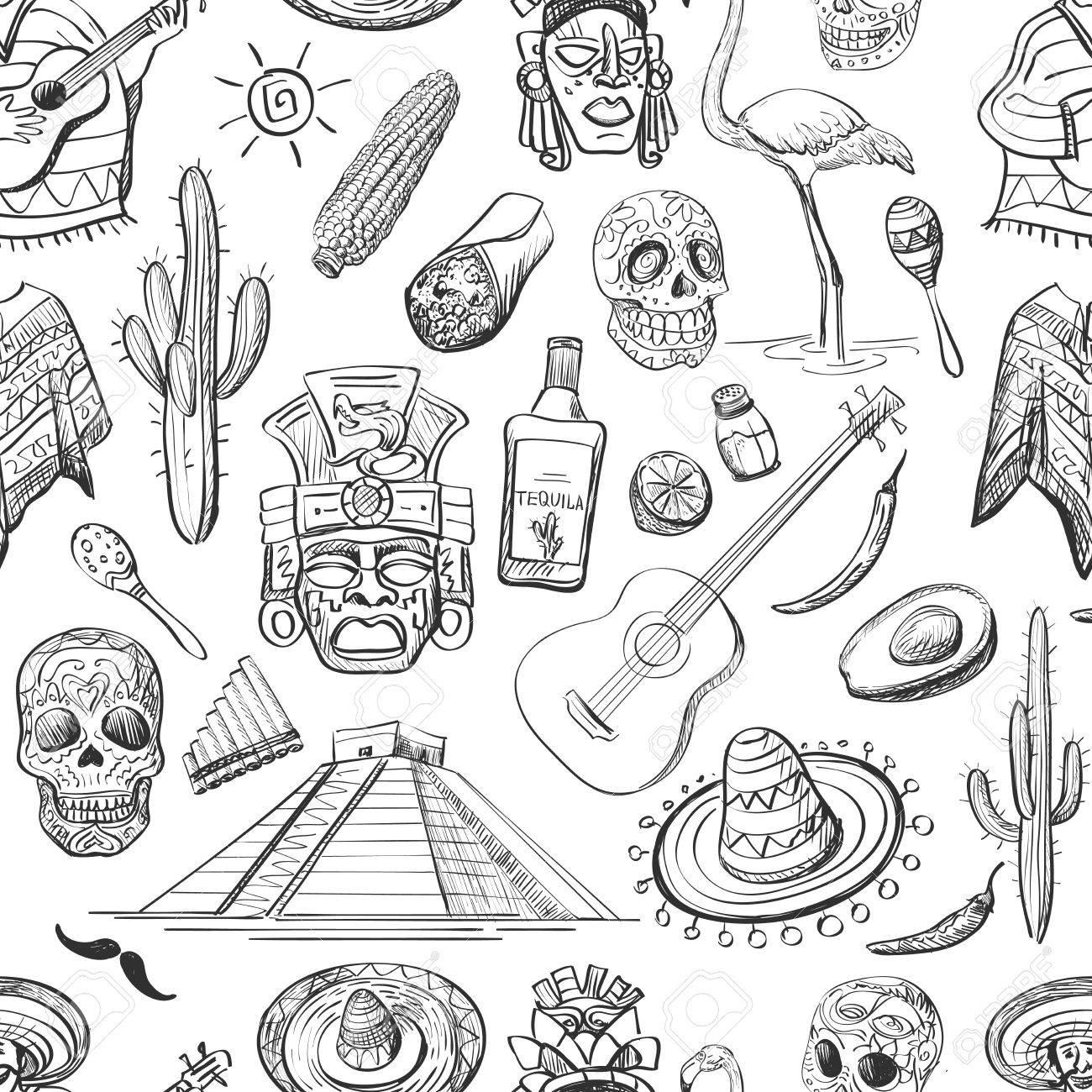 Instrumentos Patrón De Guitarra, Sombrero, Tequila, Tacos, Cráneo ...