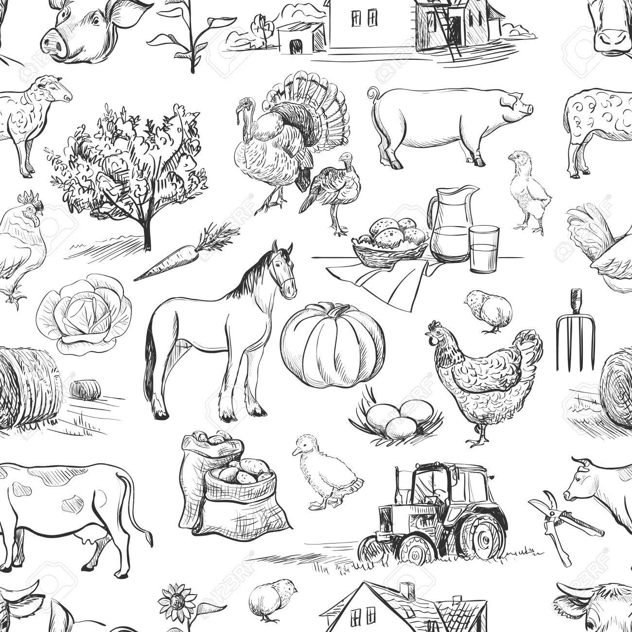 seamless pattern with farm related items with cow, goat, pig, chicken, rooster, horse, turkey, tractor, rakes, sunflowers, cabbage, carrots, eggs, milk, haystack - 46093287