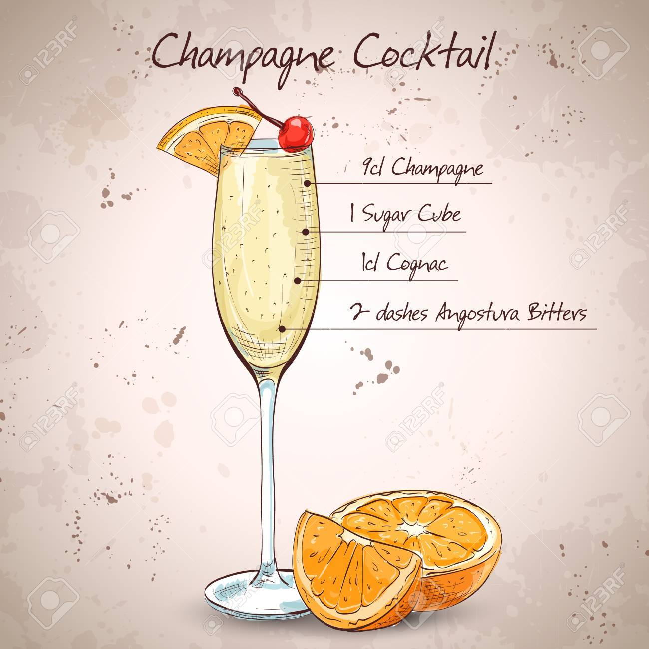 Orange-Cherry Champagne Cocktails