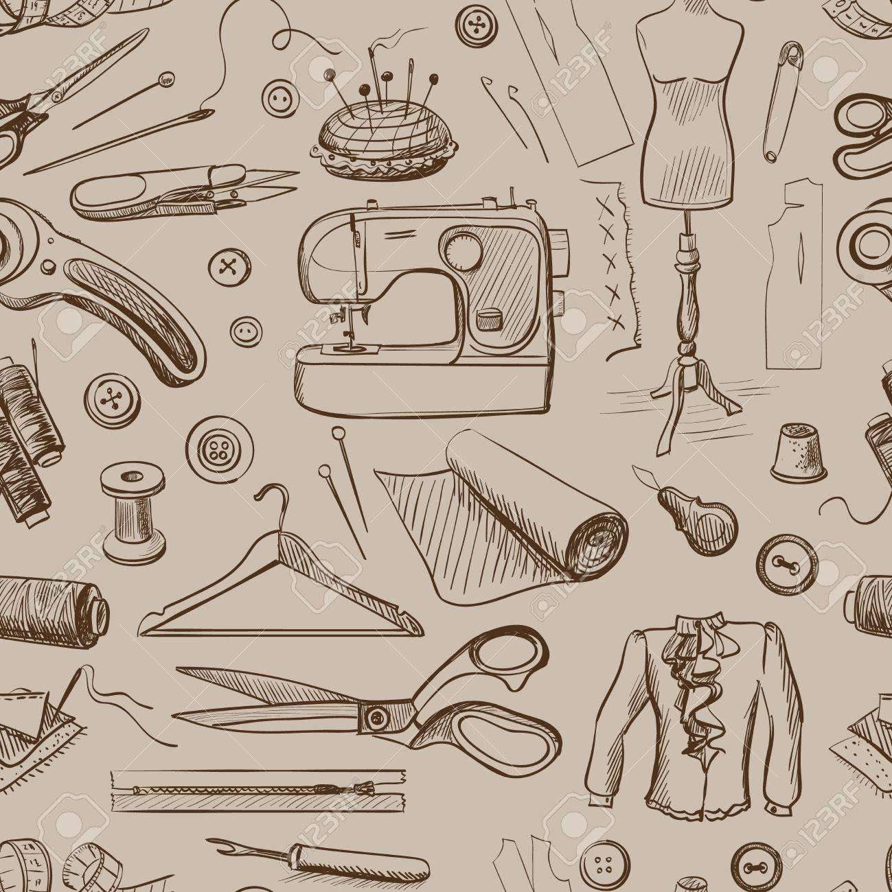 Dibujado a mano patrón de costura con una máquina de coser, hilo, tijeras,  Carretes, bobinas, Cloth Hanger, Agujas, Regla, Ropa, Maniquí, botones.