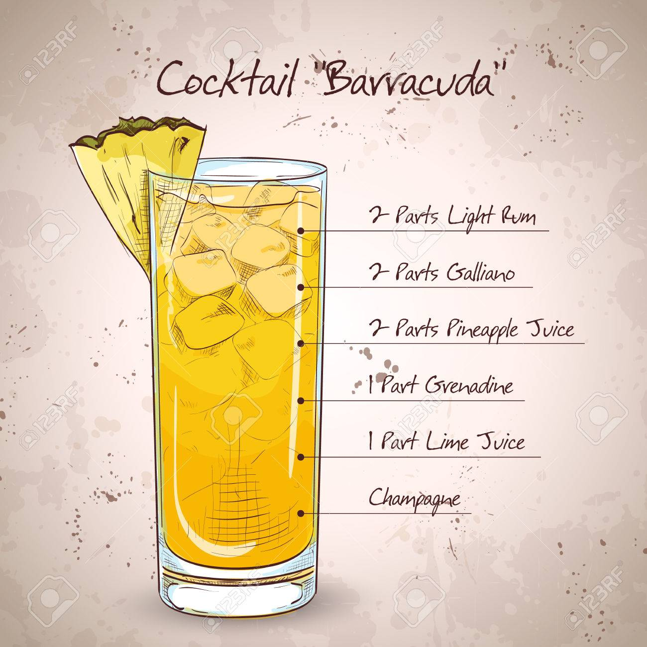 Hard Drink Cocktail Barracuda With Gold Rum Galliano Pineapple