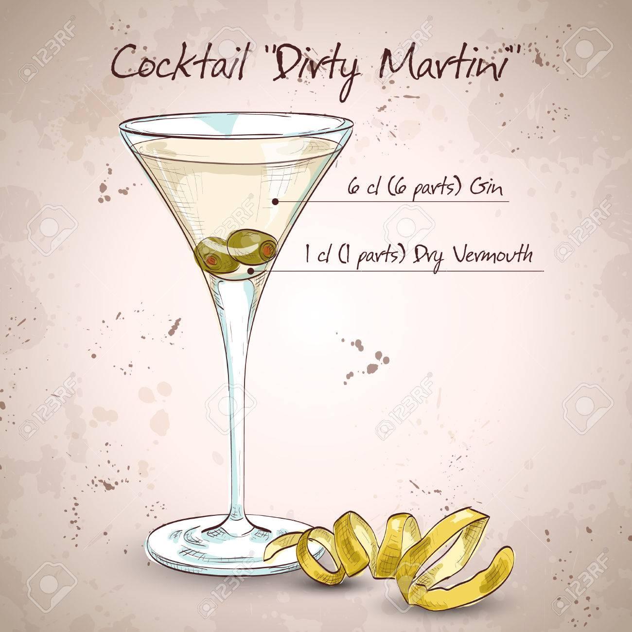 Cocktail Schmutzige Martini Mixgetränk Mit Wodka, Trockener Wermut ...