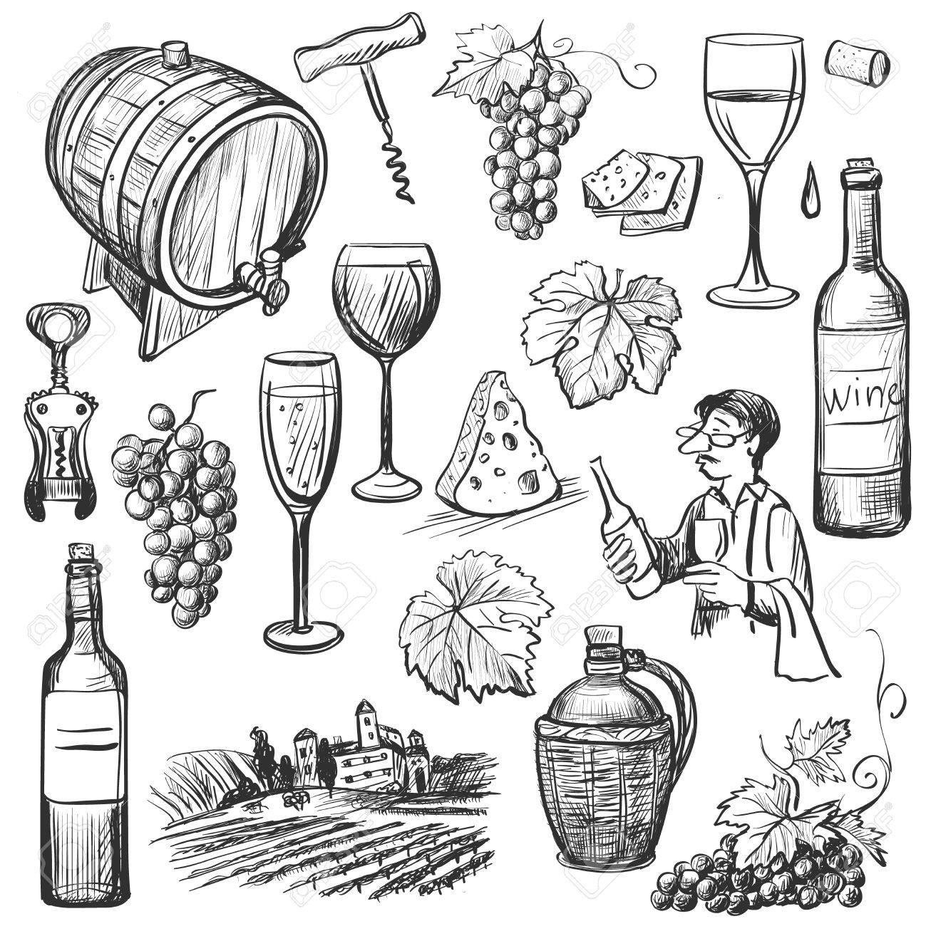 Hand drawn sketch wine set - 48084839