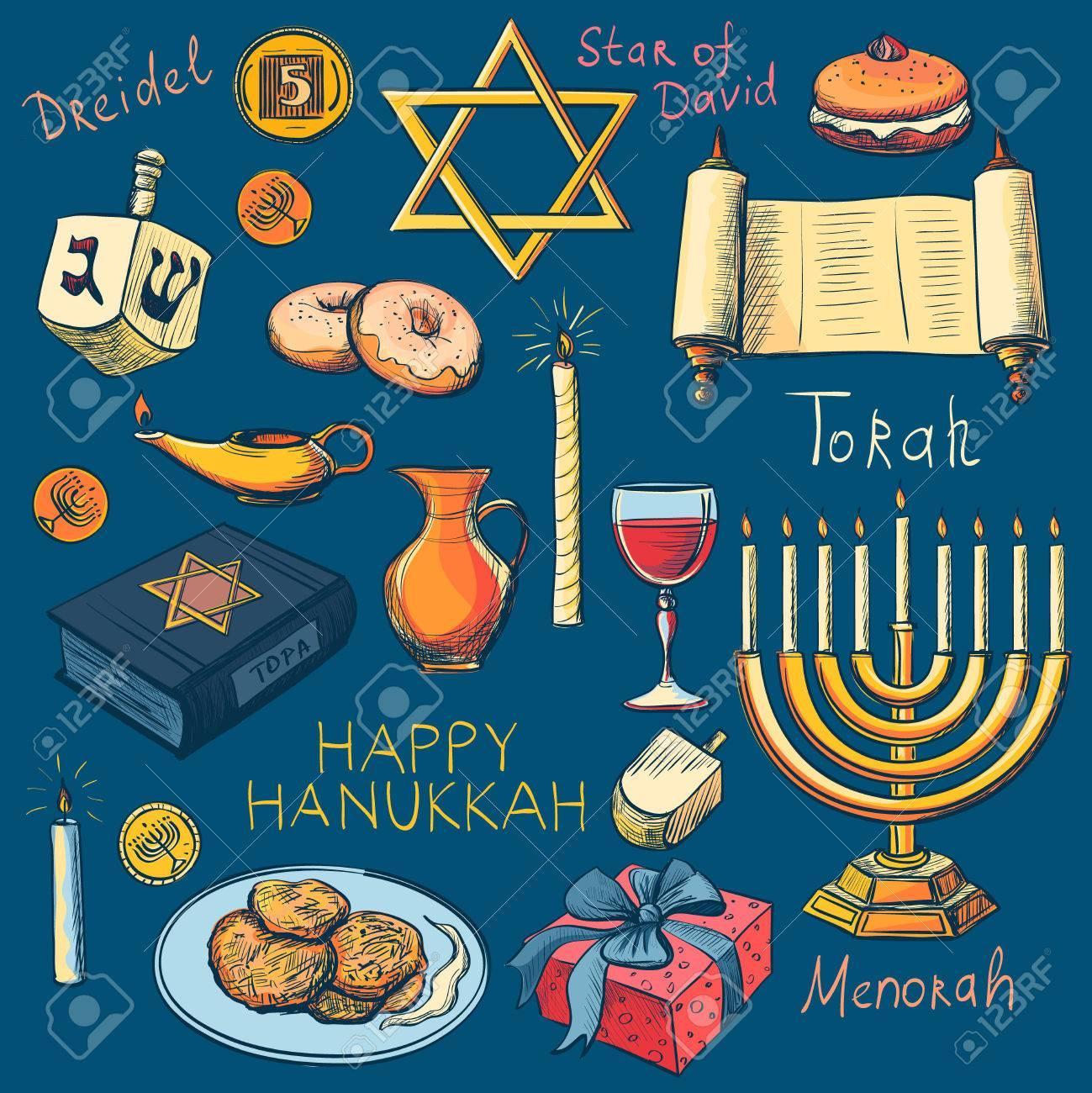 Hanukkah Traditional Jewish Holiday Symbols Set Hanukah Purim