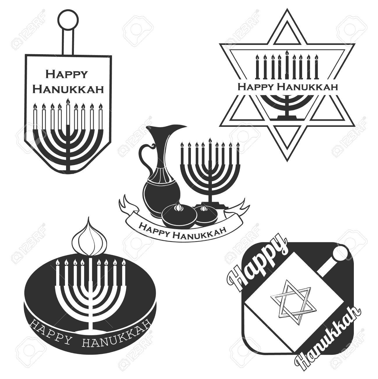Vector Collection Of Labels And Elements For Hanukkah, Badge ...