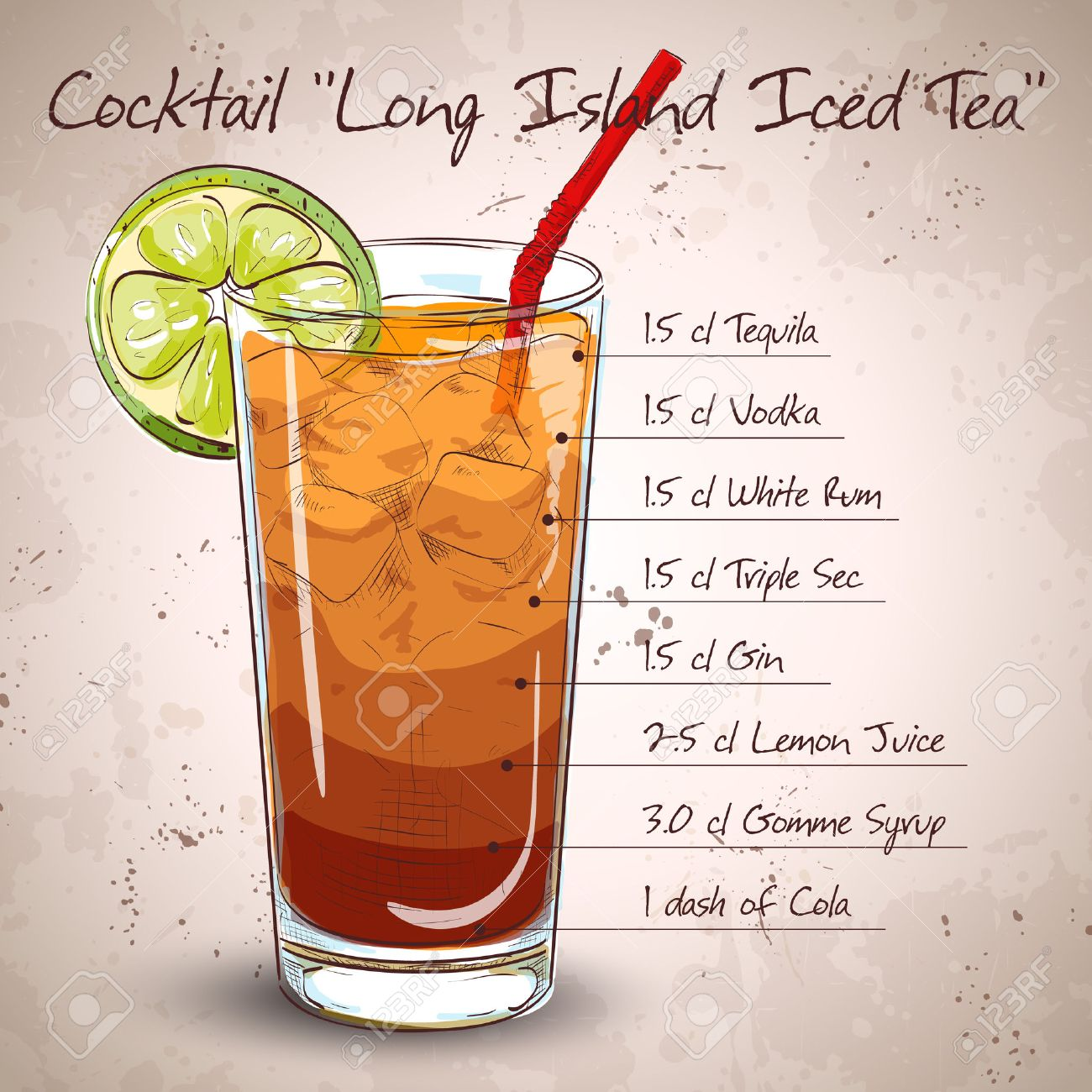 Cocktail Long Island Iced Tea Vodka, consisting of gin, rum Light, Silver tequila, orange liqueur, lemon, syrup, cola, ice cubes - 48647852