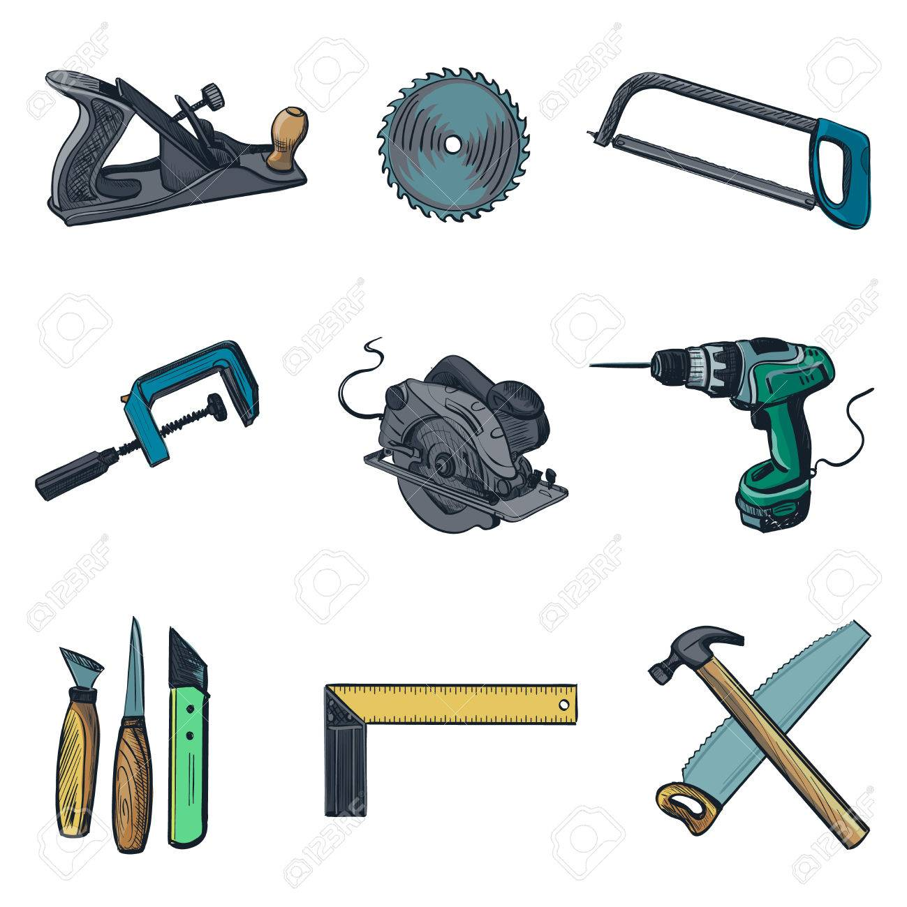 Woodworking Industry And Woodworking Tools Icons Vector Icon