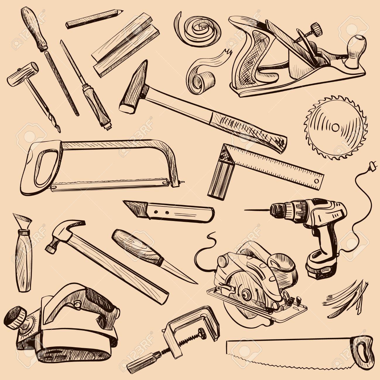 Tischlerei werkzeug  Tischlerei-Icons Gesetzt. Carpenter Zeichen Bei Der Arbeit ...