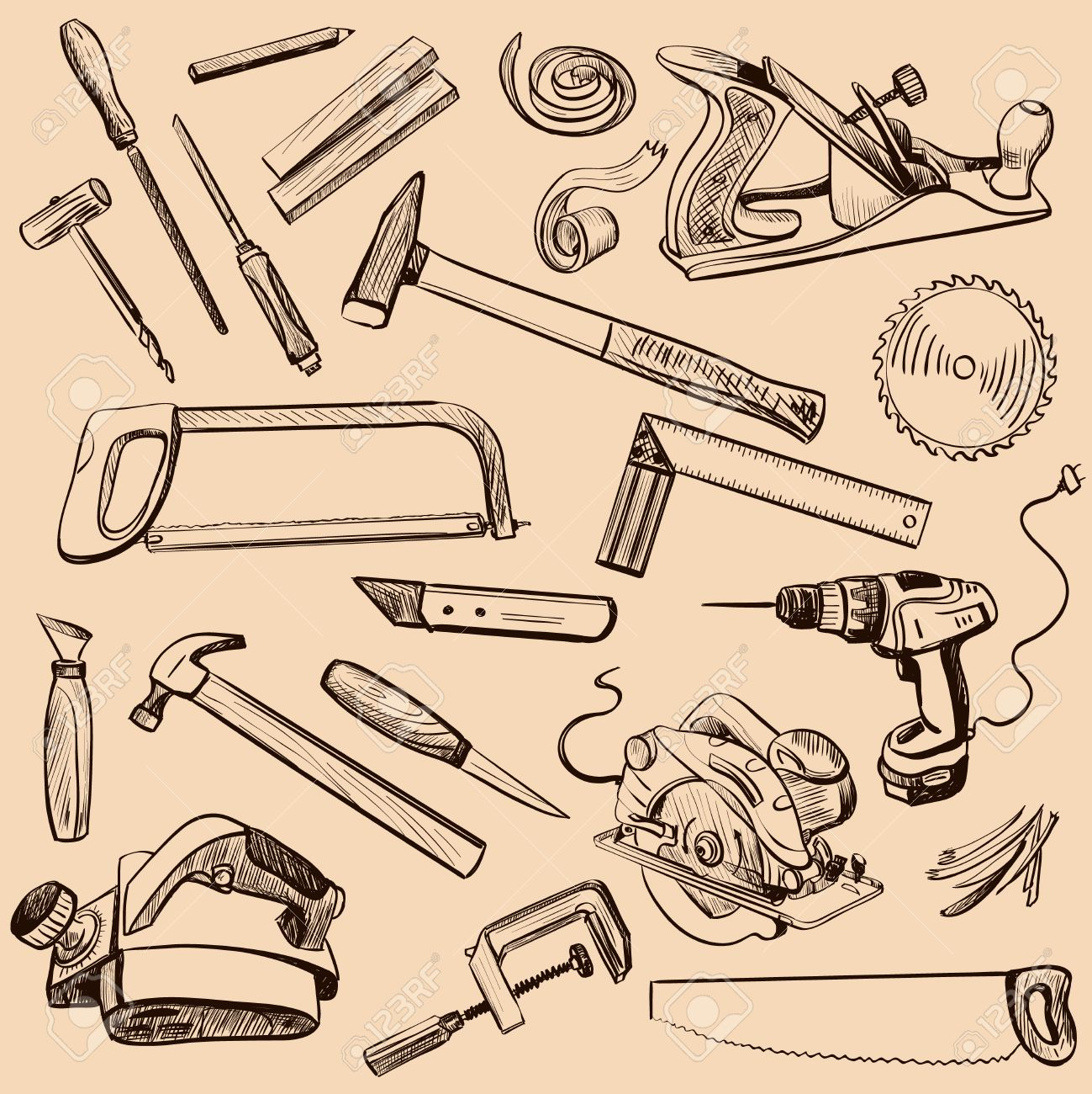 Joinery Icons Set Carpenter Character At Work Woodworking Tools