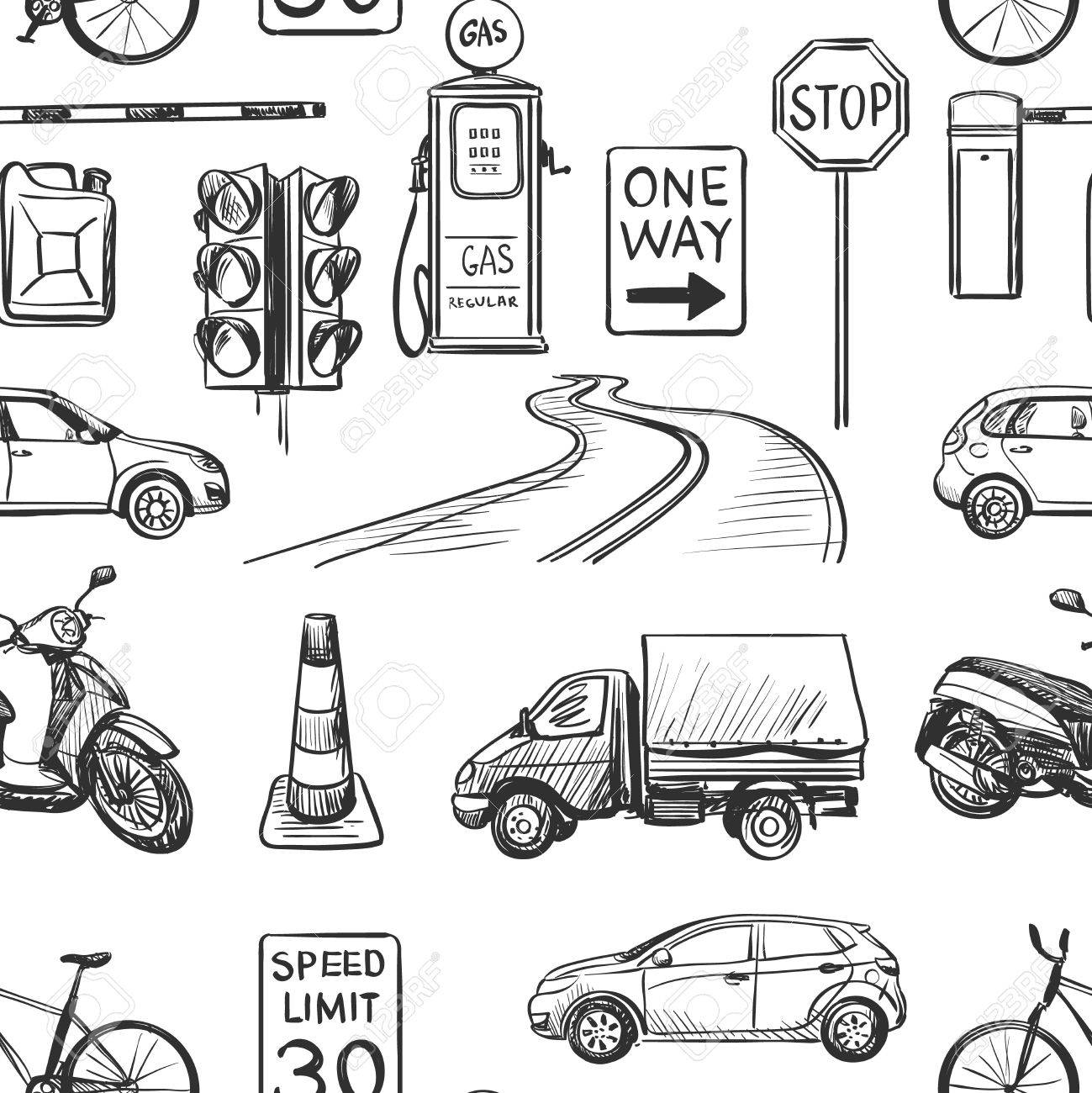 Seamless Pattern Of Traffic Laws Icons -traffic Lights, Signs ...