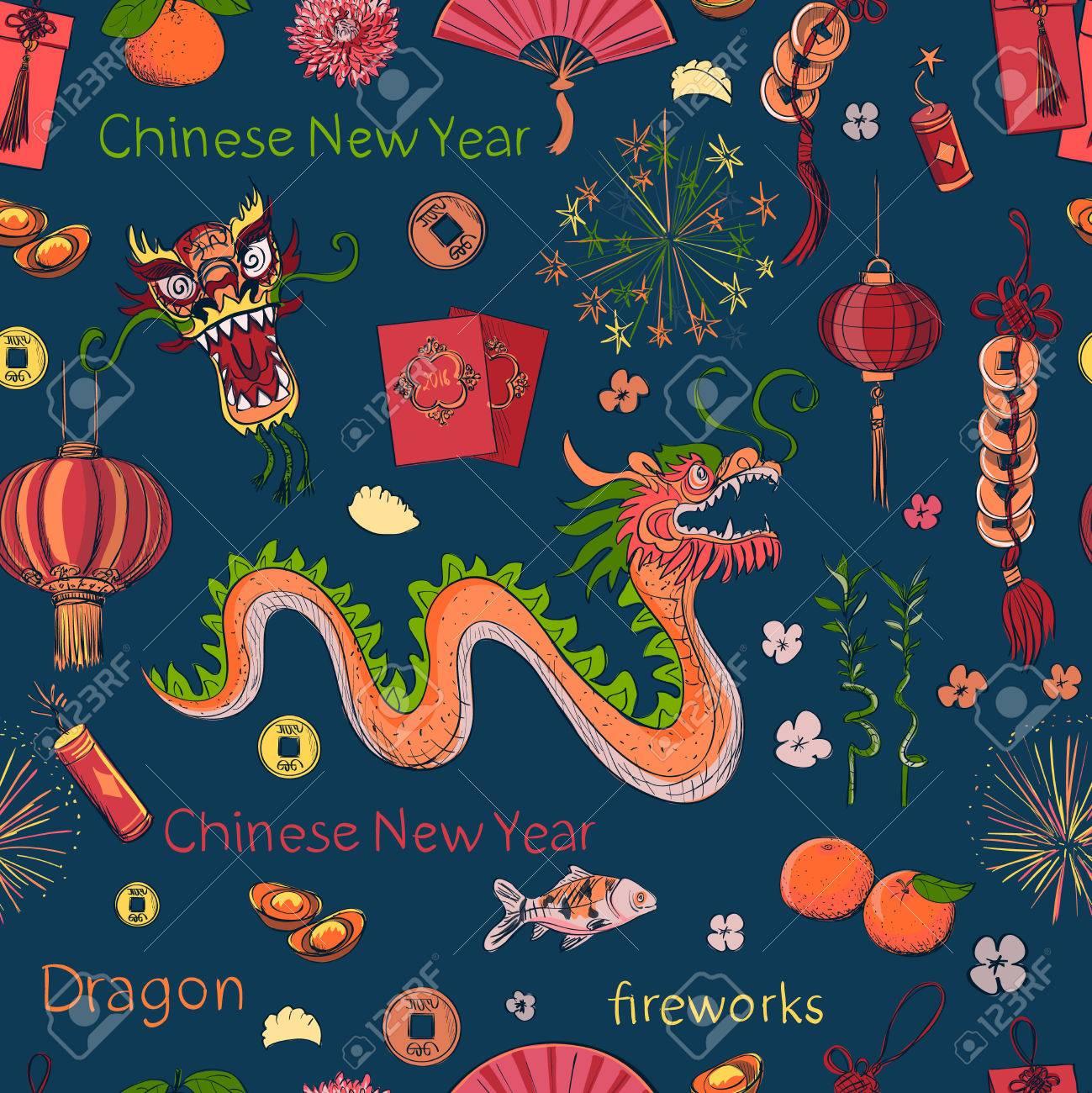 Nahtlose Chinese New Year Muster- Frohes Neues Jahr. Frühling Und ...
