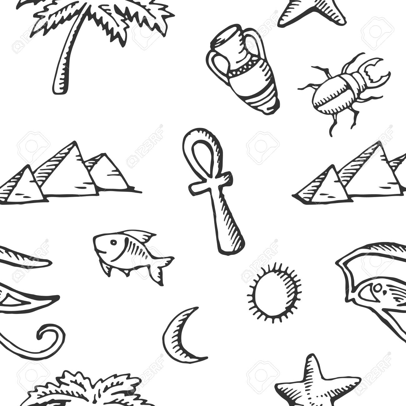 Seamless Pattern Sketch Collection Of Egyptian Symbols Vector