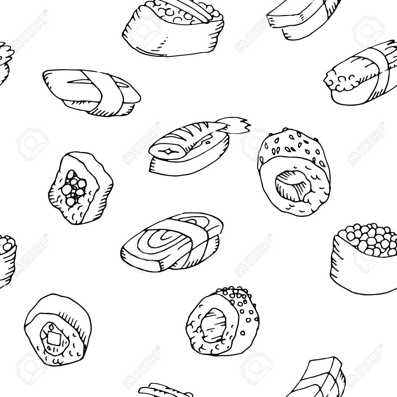 Nahtlose Muster Sushi Mit Asiatischen Küche Für Web-Hintergründe-Set ...
