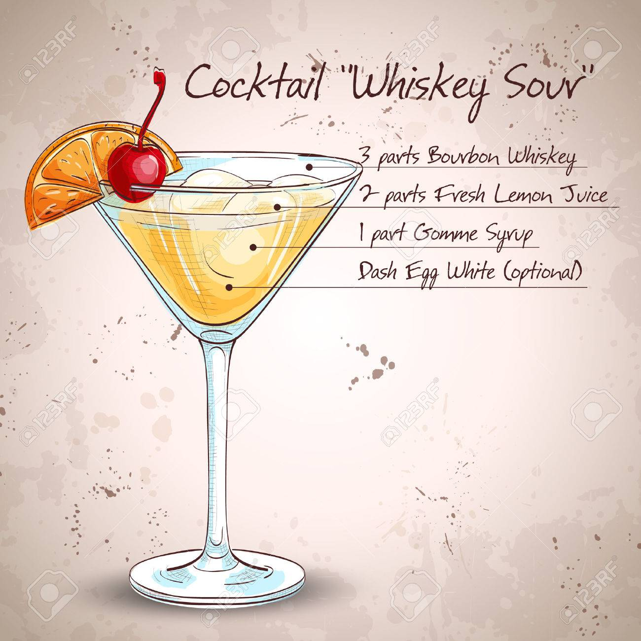Cocktail Whiskey sour with lemon and ice cubes - 52092112