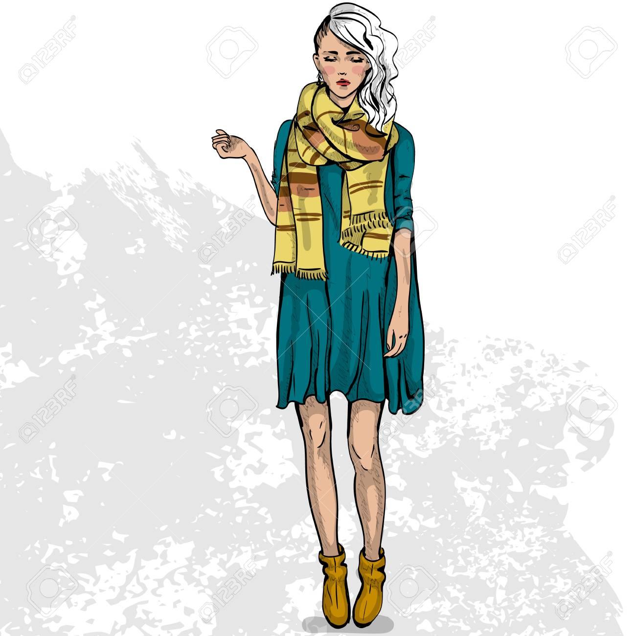 GroBartig Hohe Trendfarbe Blick .Glamor Stilvolle Schöne Junge Frau Modell. Helle  Bunte Tuch. Modestil