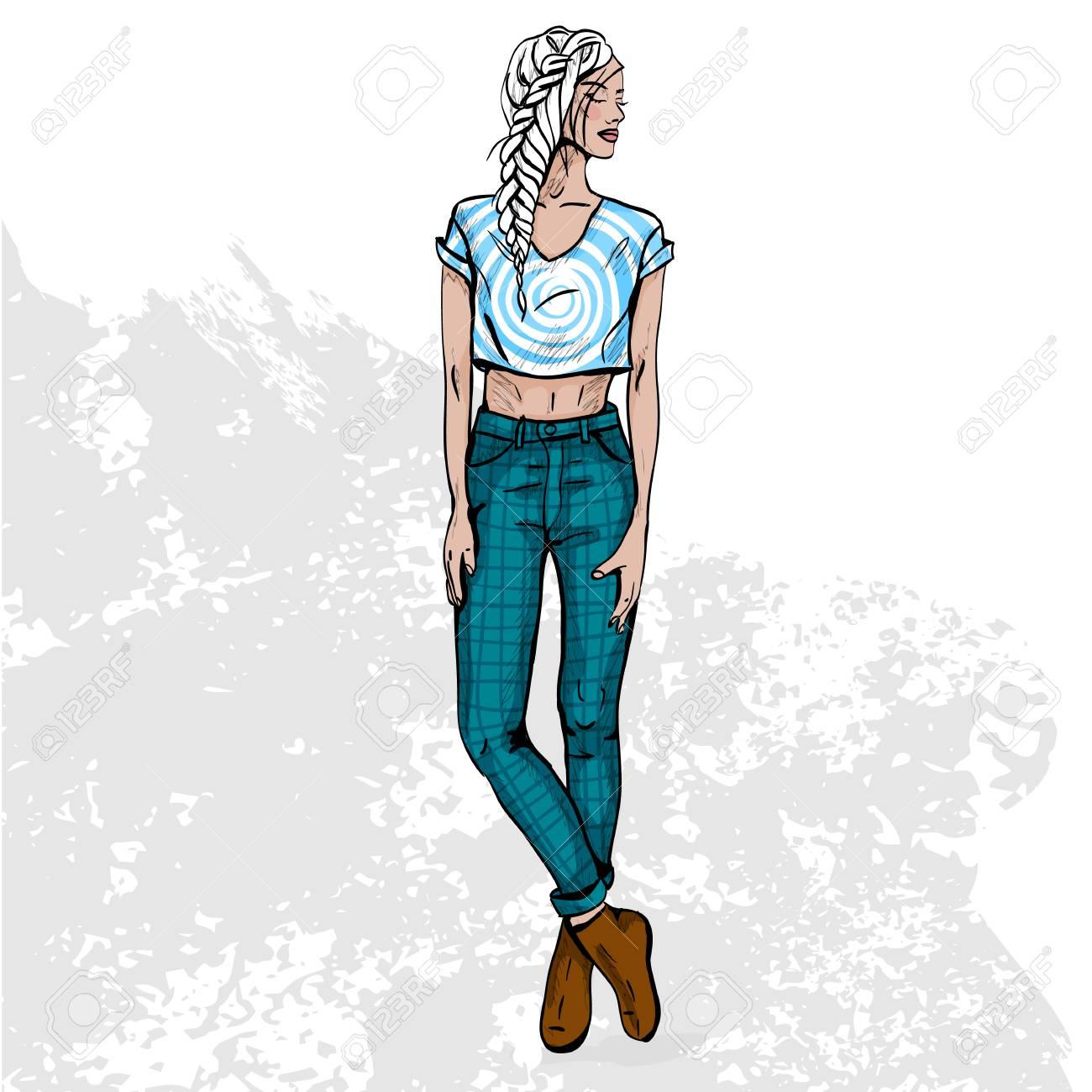 Uberlegen Hohe Trendfarbe Blick .Glamor Stilvolle Schöne Junge Frau Modell. Helle  Bunte Tuch. Modestil