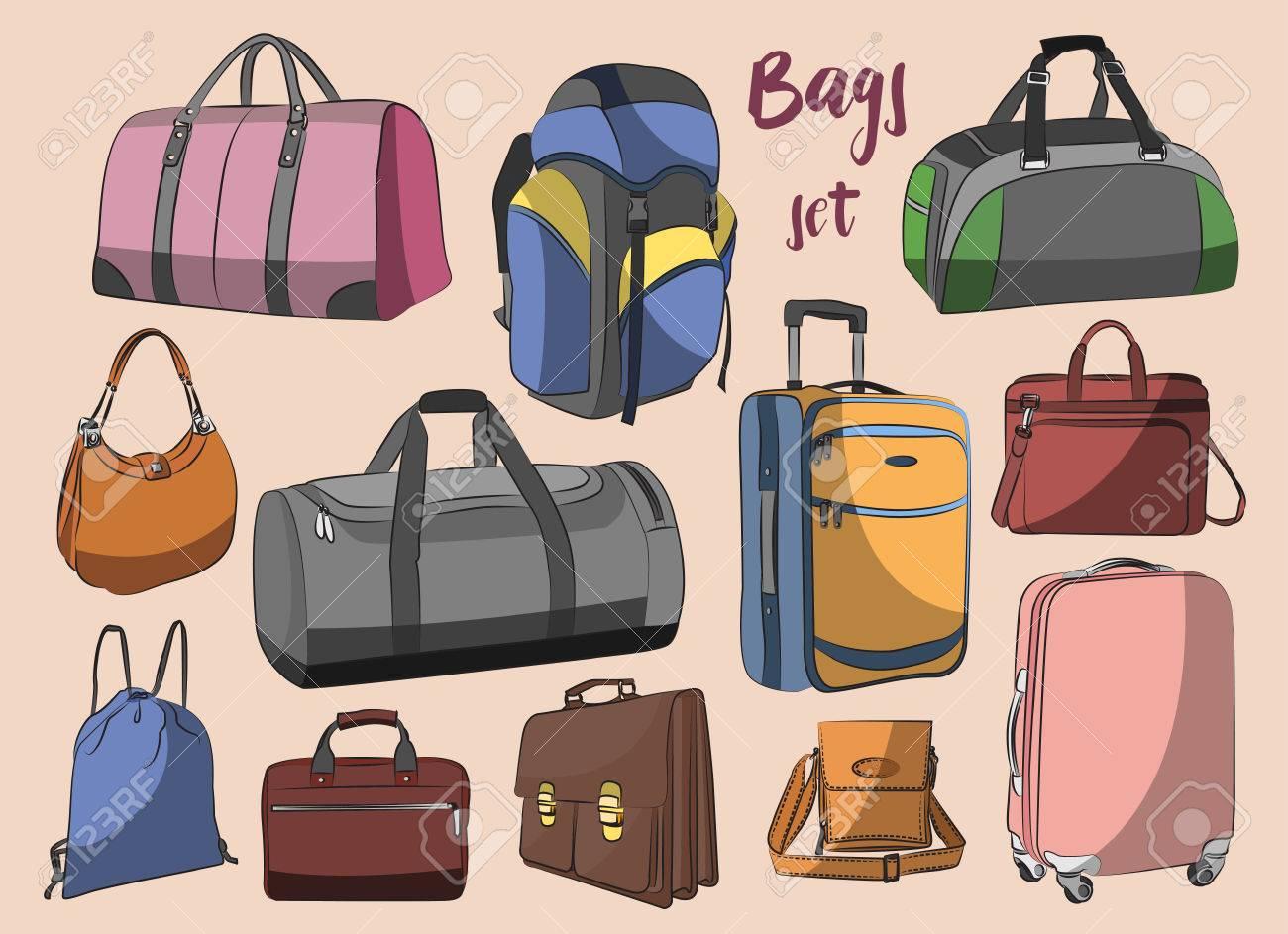 sitio de buena reputación 74e46 cca28 Los diferentes tipos de bolsas, cajas, maletas, mochilas, los niños  mochila, caja, bolso de la señora, el equipaje de mano, bolso y otros.  ilustración ...