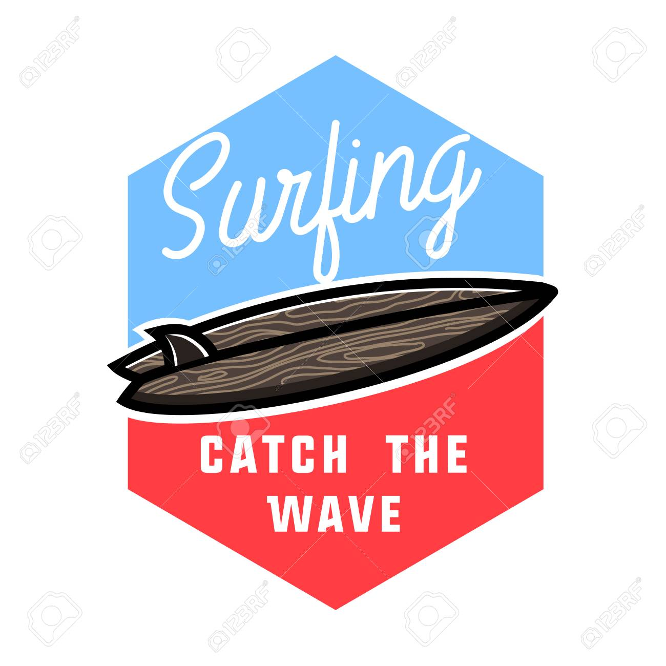 d3876b9cfe5 Color vintage surfing emblem. Surfing Design. Tropical vector set Hand  drawing silhouette. Stock