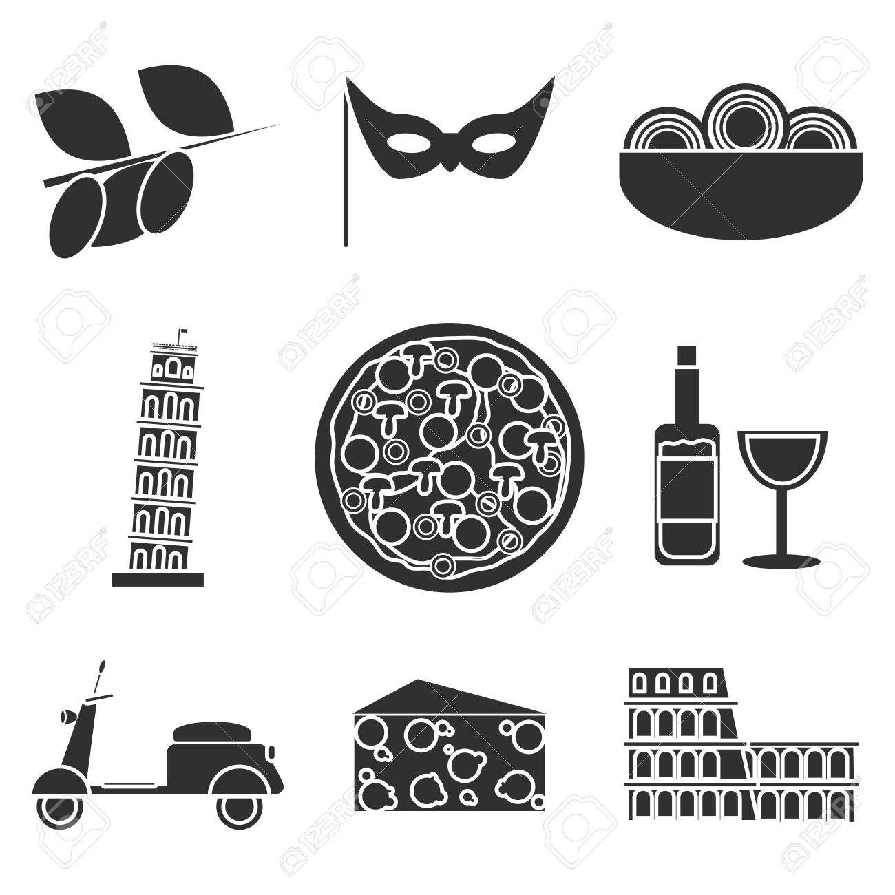 Set Of Italy Travel Colorful Icons Italy Symbols For Your Design