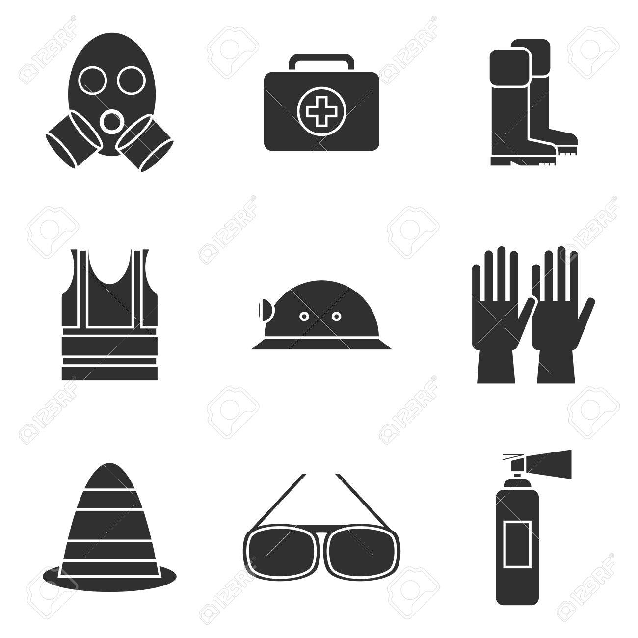 safety equipment icon set safety icons vector illustration