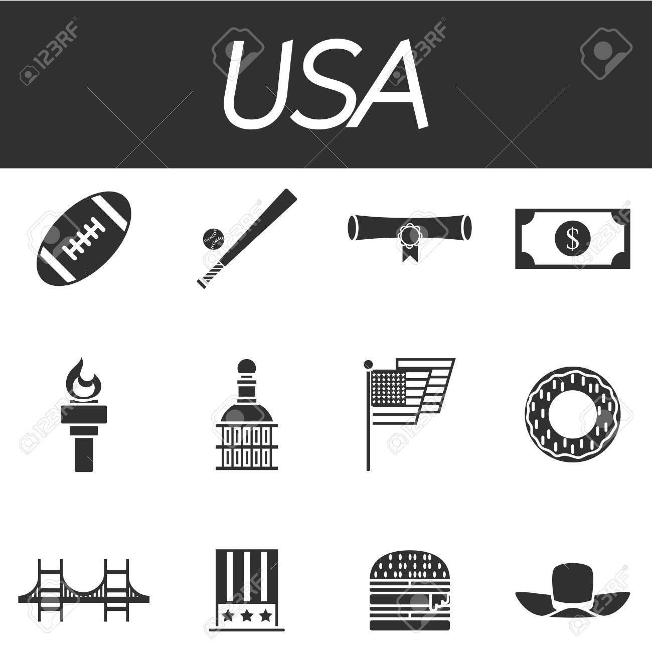 Set Of Vector Design Usa Travel Icons And Infographics Elements